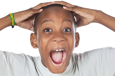 boy shouting madly with his hands over his head Stock Photo - 2998557