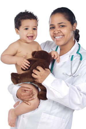 Young nurse holding  baby over white background