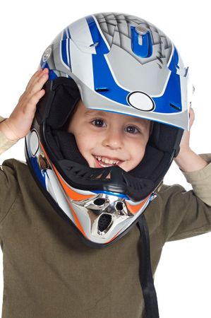 adorable boy with a helmet in the head a over white background photo
