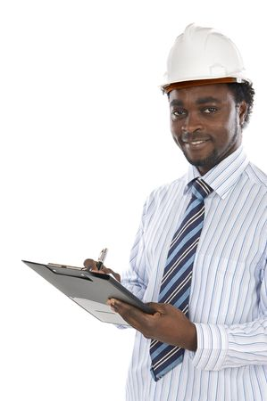African american engineer a over white background Stock Photo - 3007480