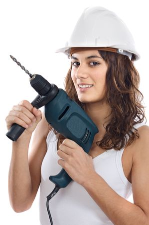 autocad: Attractive working woman a over white background