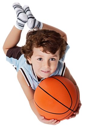 game over: adorable child playing the basketball a over white background Stock Photo