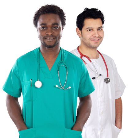 African and caucasian  doctors a over white background photo