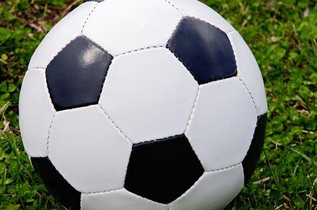 Soccer ball on the grass photo