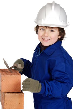 Child builder making a wall of bricks a over white background