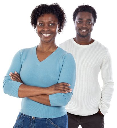 African american couple  a over white background Stock Photo