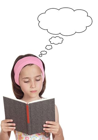 concentrate: adorable girl reading a book a over white background Stock Photo