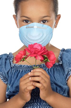 congested: Girl with mask and flower, no allergies