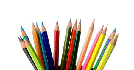Color pencils a over white background photo