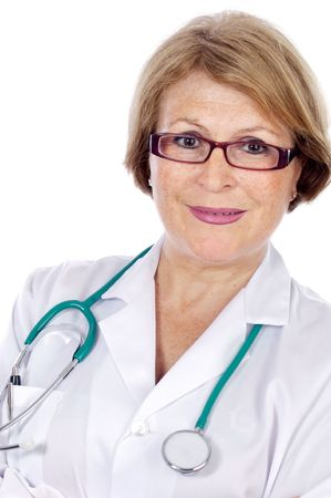 medical dressing: Female doctor in a white medical dressing gown