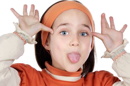 oppress: Mocking adorable girl a over white background