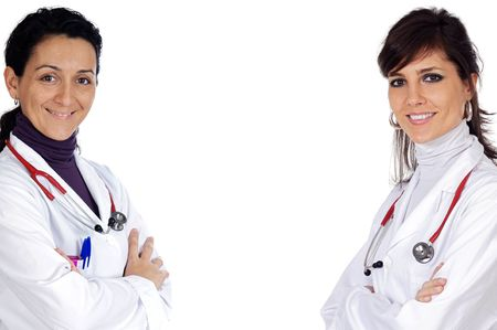Two doctor women over a white background Stock Photo - 3133400