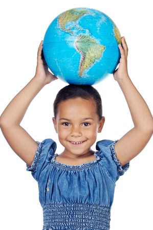 Girl with a globe of the world on her head a over white background photo