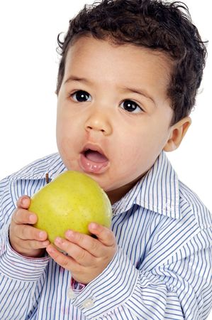 Small  eating an apple a over white background Stock Photo - 3146310