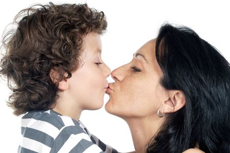 boy kiss his mother in the Mother«s day