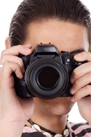 Young man photographer a over white background Stock Photo - 3160311