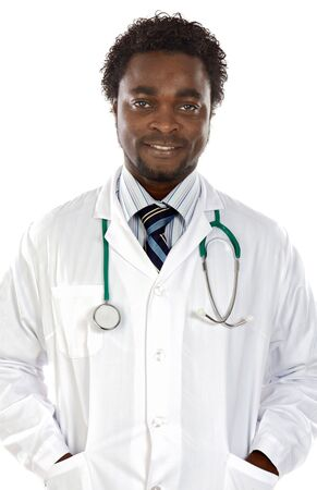 Attractive young doctor a over white background Stock Photo