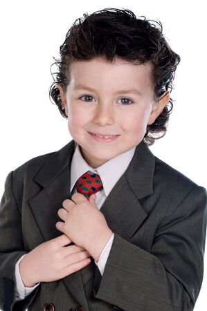 Adorable child with elegant clothes a over white background photo