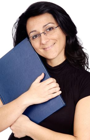 Woman whit book and glasses a over white background photo