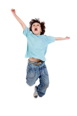 Adorable child  jumping a over white background photo