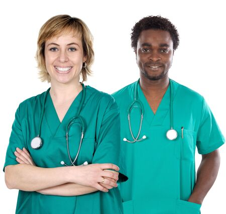 licensed: couple of young doctors a over white background Stock Photo