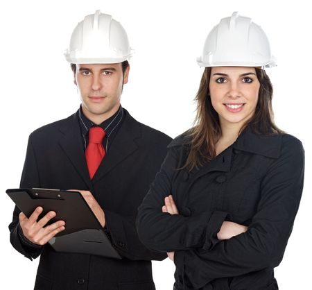 executive helmet: Couple of engineers a over white background