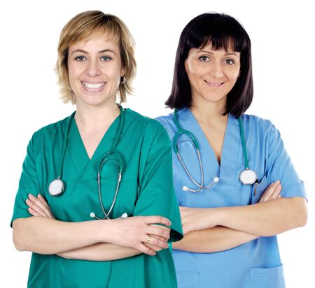 Two doctor women over a white background Stock Photo
