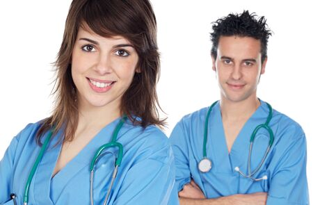 couple of young doctors a over white background Stock Photo - 3249463