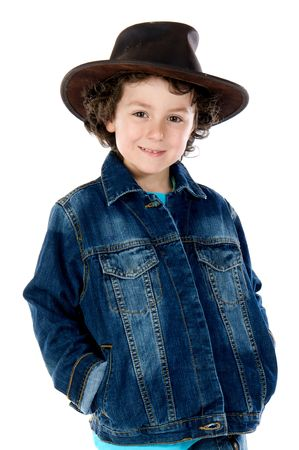 Adorable child wearing a cowboy hat a over white background Stock Photo - 3255616