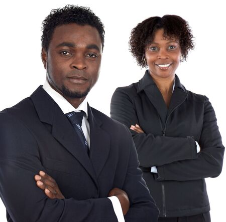 lady boss: Couple of young executives a over white background Stock Photo