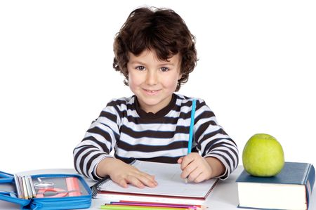 adorable child student a over white background photo