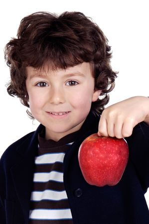 Adorable child with one apple in the hand a over white background photo
