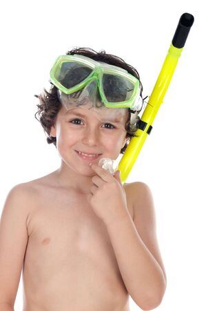 swim mask: Adorable child with diving mask a over white background
