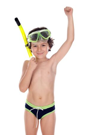 swimming shorts: Smiling child with diving mask a over white background Stock Photo