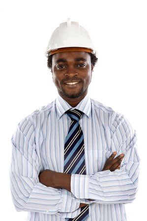 Photo of handsome engineer smiling a over white background Stock Photo - 3417939