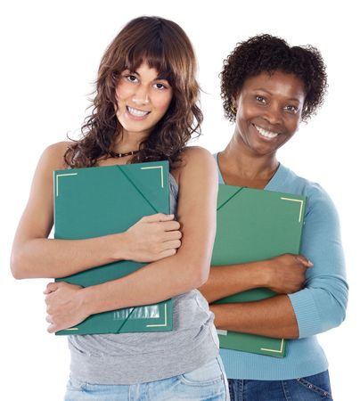 Photo of smiling teen students over whit background Stock Photo - 3417957