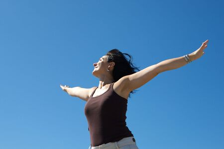 Photo of woman relaxing with sky background Stock Photo - 3424320