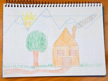 dibujo de un hermoso paisaje pintado por un ni�o  Foto de archivo - 3429455