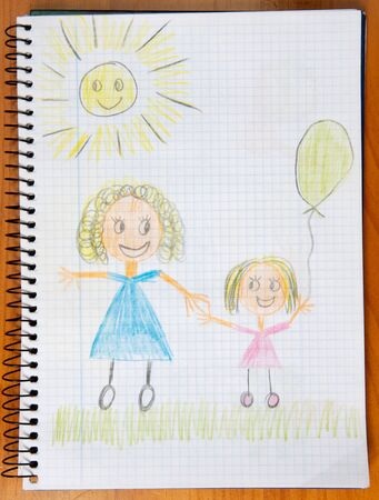 drawing of a mother and her daugther painted by a child Stock Photo - 3429457