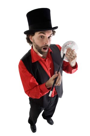 surprised magician doing a trick of letters Stock Photo - 3447666