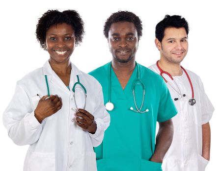 Team of young doctors a over white background Stock Photo - 3447676