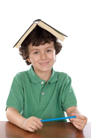 boy learning to read with white bottom photo