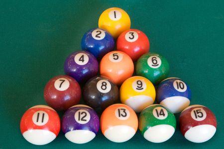 fifteen: billiard-table with fifteen balls arranged as triangle