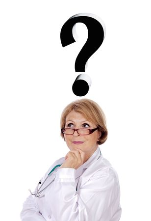 health questions: woman doctor thinking of diagnosis a over white background