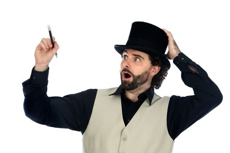 sorcery: portrait of a magician with his barite drawing something