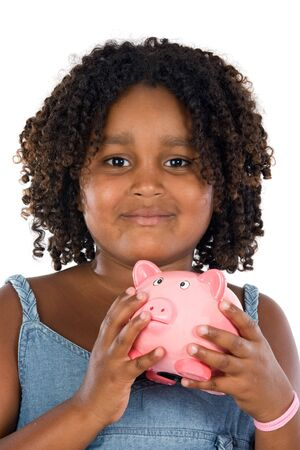 thrift box: adorable African girl with pink piggy bank in your hands