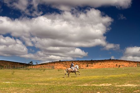 Riding a horse in a meadow with beautiful sky full of clouds photo