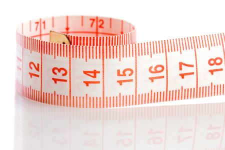 millimetre: Tape rolled with Shallow Depth of Field a over white background
