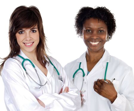 Two women doctor a over white background photo