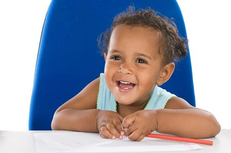 Adorable  student a over white background Stock Photo - 3507967